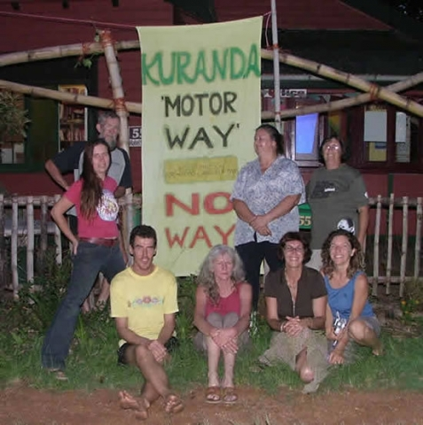 Di Horburgh and friends protest the Kuranda Range Highway proposal at a gatherin